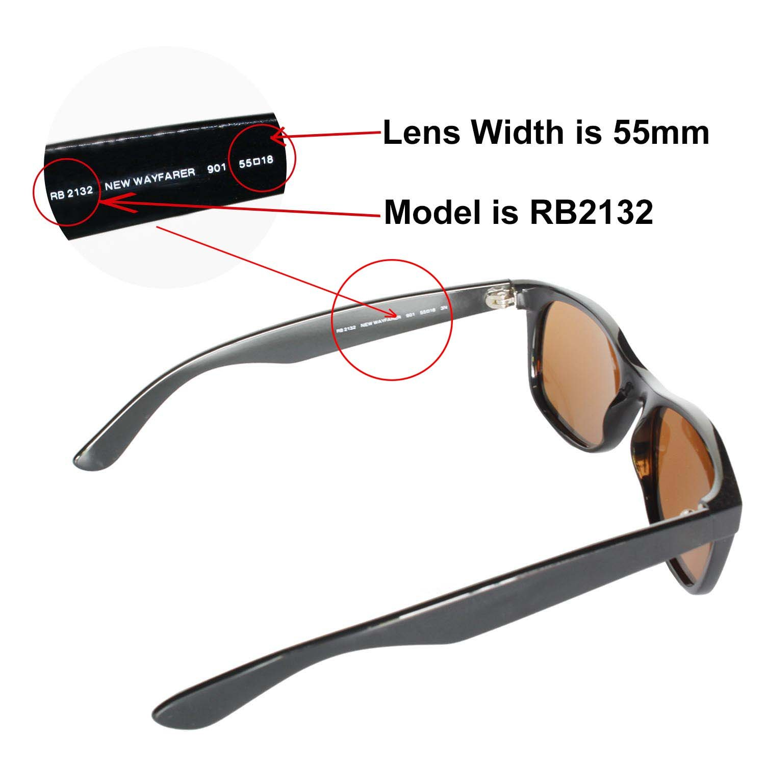 30fad4fc14 Amazon.com  Walleva Replacement Lenses for Ray-Ban Wayfarer 2132 55mm-9  Options Available (24K Gold Mirror Coated - Polarized)  Clothing