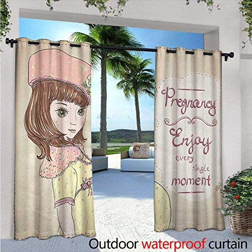 BlountDecor Quotes Indoor/Outdoor Single Panel Print Window Curtain W96 x L84 Pregnancy Enjoy Every Single Moment Clipart Pregnant Woman Dress Hat Silver Grommet Top Drape Eggshell Pink Multicolor