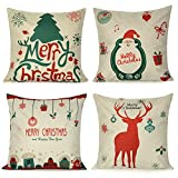 Decorative Pillow Cover - Uarter Merry Christmas Series Throw Pillow Case Cotton Linen Cushion Cover Decorative Pillowcase Square 1818 Inch Linen (Set of Four)