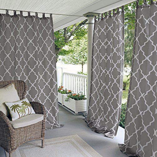 Elrene Home Fashions 026865796483 Indoor/Outdoor Tab Top Single Panel Window Curtain Drape, 50