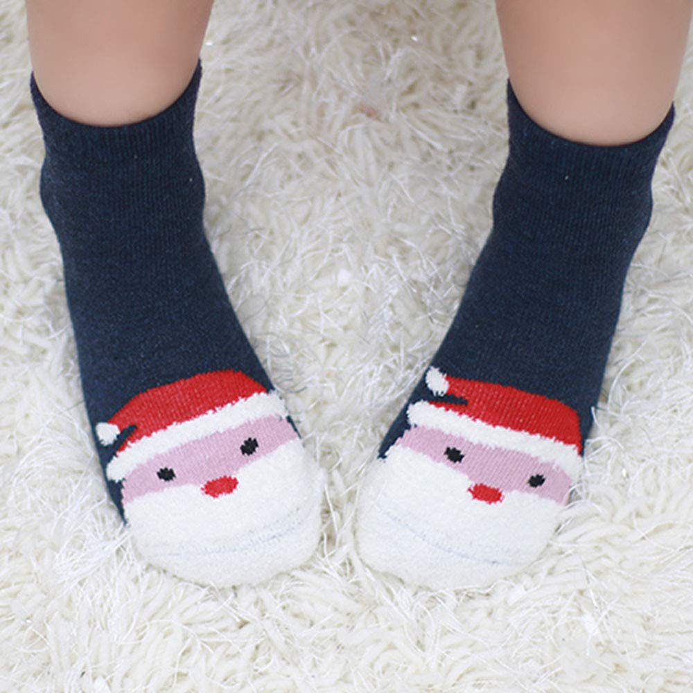 4 Pairs Newborn Unisex Baby Anti Slip Christmas Snowman Socks Khaki,Navy,Red,Blue Step Baby Socks