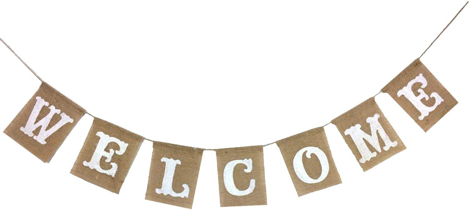 KatchOn Welcome Banner Sign, Real Burlap – No DIY Required | Great for Back to School, Wedding, Bridal Shower, Baby Shower Decorations, Classroom, Homecoming, Reunion | Home Welcome Party | Large