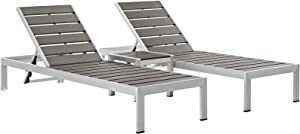 Modway Shore Aluminum Outdoor Patio Two Chaise Lounge Chair and Side End Table in Silver Gray