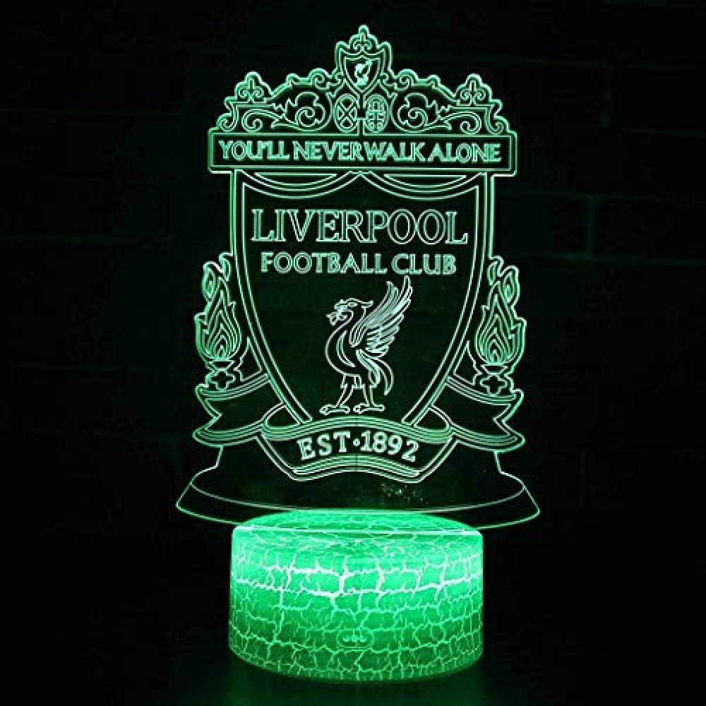 3d night light Logotipo del equipo Liverpool regalo para niños-16 colores cambiantes-Base blanca