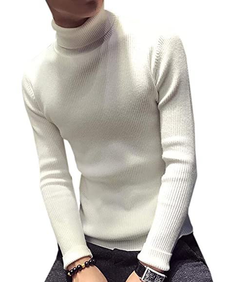 BYWX Men Casual Slim Fit Knitted Pullover Turtleneck Thermal Sweater