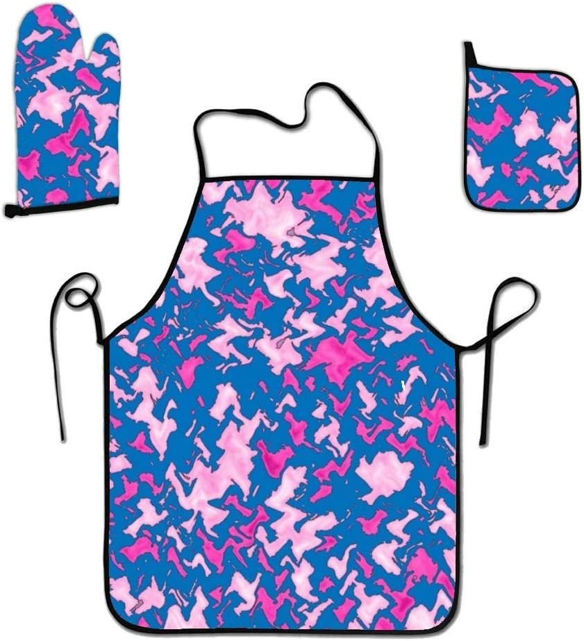 liubajsdj Kitchen Cooking Set - Pink Purple Camo Apron, Oven Mitt Pot Holder Novelty 3 Piece Set of Apron, Oven Mitt, Pot Holder