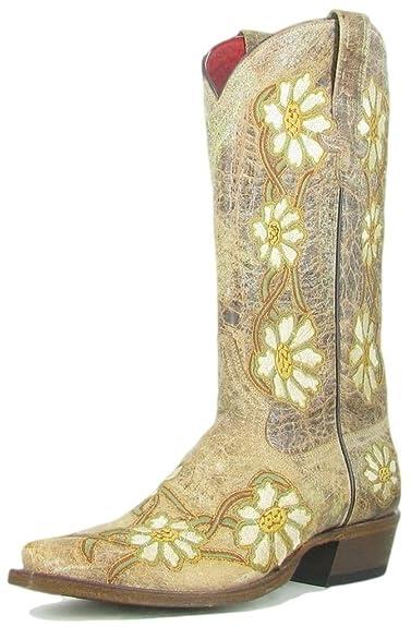 14b4c166577 Macie Bean Western Boots Womens Daisy Margaritas Natural M8045