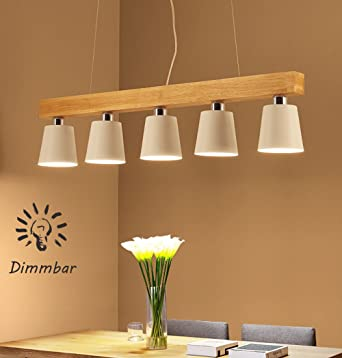 LED Pendelleuchte dimmbar Hängeleuchte Holz Hängelampe 5-flammig ...