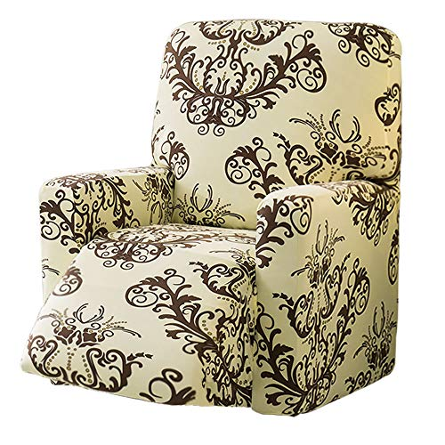 TIKAMI Stretch Recliner Chair Covers Printed Floral Sofa Slipcovers Furniture Protector with Pocket(Coffee Print)