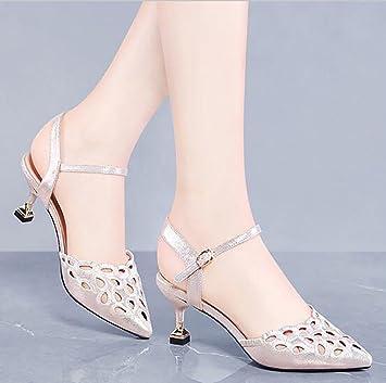 Baotou Sandalen Damenschuhe Sommer mit Sandalen koreanische Damen sexy hohlen High Heels Flache SandalenMode