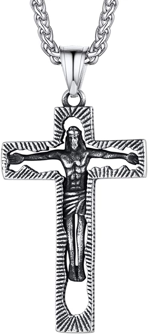 "Pendentif Collier Croix Jesus Christ Argent Homme Chaine offerte 24/"" 7MM"