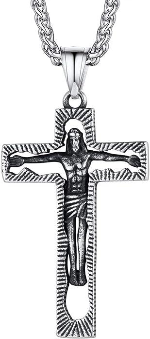 Collier Homme Femme Chapelet Avec La Croix En Acier Dorè 65 CM 118 N