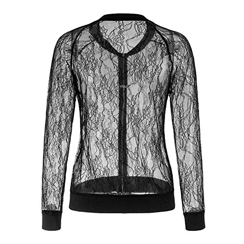 Women's Casual See Through Lace Patchwork Zip Up Bomber Jacket Short Coat Tops Black XL by Joseph Costume (Image #6)