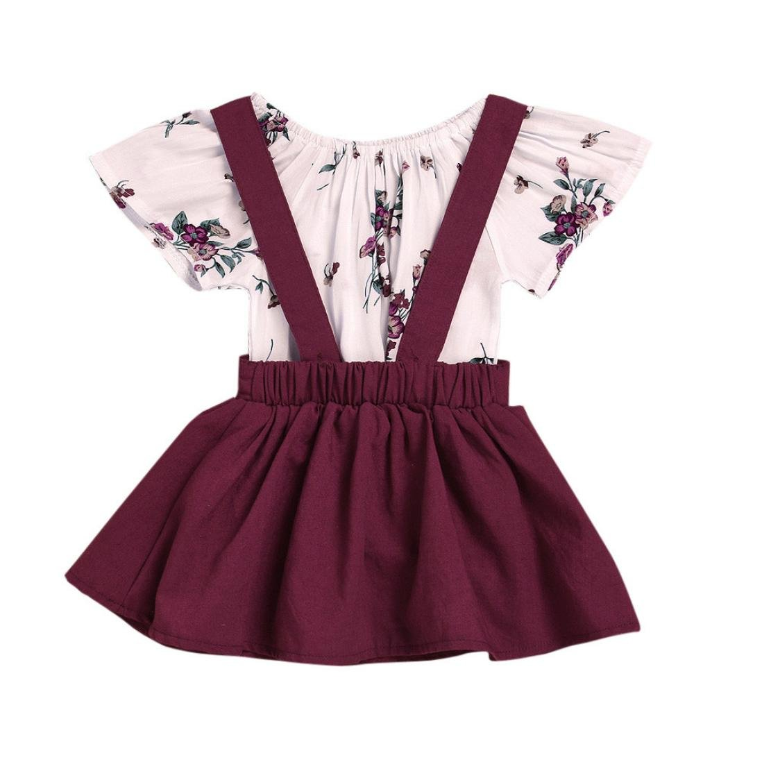SHOBDW Girls Clothing Sets, Infant Baby Kids Lovely Floral Print Short Sleeve Rompers Jumpsuit + Strap Summer Skirt Outfits Gifts SHOBDW-05