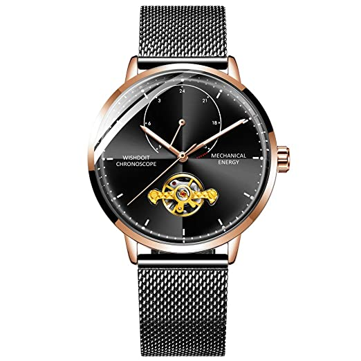 WISHDOIT Reloj para Hombre Elegante Automático Reloj Negro Acero Impermeable Minimalista Bauhaus-Estilo Moda Reloj de Pulsera Mecánico para Hombres: ...