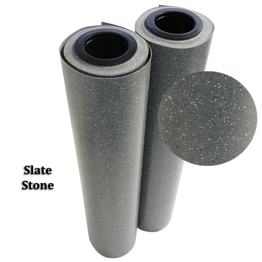 Rubber-Cal Terra-Flex Premium 2mm Flooring Rolls, Slate Stone, 4 x 50-Feet