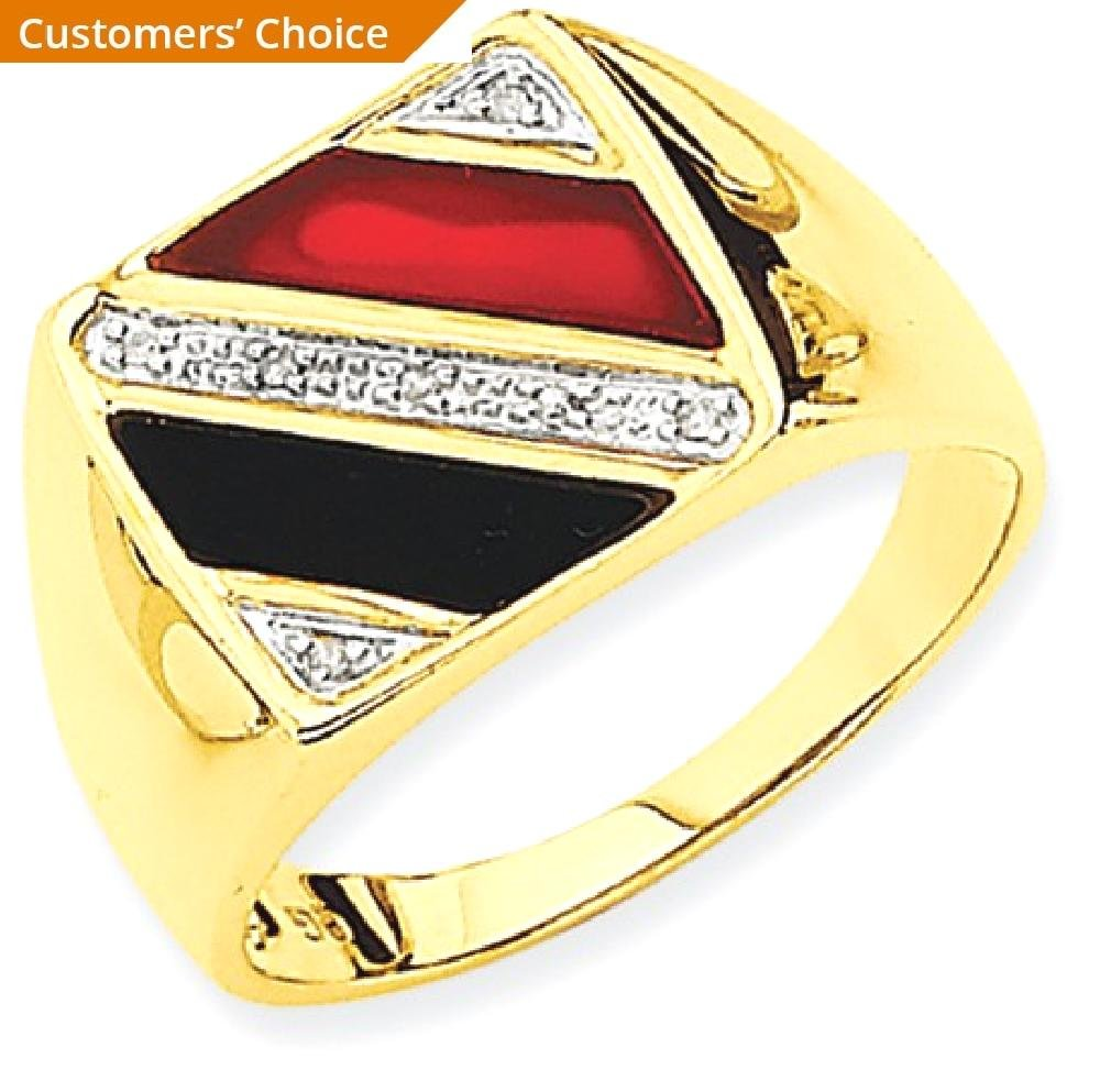 ICE CARATS 14k Yellow Gold Mens Black Onyx Red Agate Diamond Band Ring Size 10.00 Man Fine Jewelry Dad Mens Gift Set by ICE CARATS (Image #2)