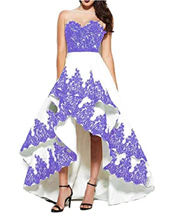 FWVR Womens Sheer Neck Appliques Hi-Lo Formal Evening Prom Dresses Plus Size - Purple