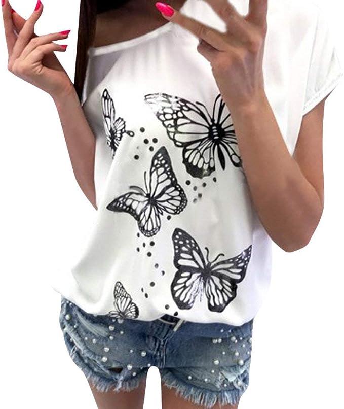 BaZhaHei Stampa Farfalla T Shirt Donna Sciolto Manica Corta Canotta,O Collo Maglietta Tees Eleganti Camicetta Casuale Top Estate Camicia Donna Gilet