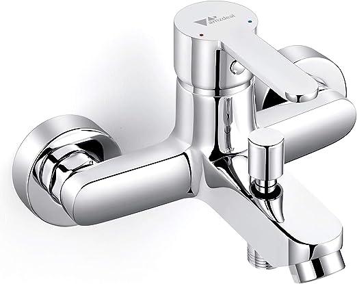 comprar Amzdeal Grifo para baño y ducha Grifo de bañera con el Cuerpo de cobre Mezclador de baño Monomando para bañera de Mango de aleación de titanio, Plateado