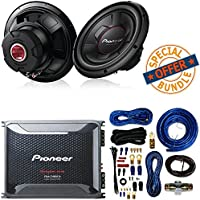 Pioneer TS-W126M 1300 Watts 12 Single 4 Ohm Car Subwoofer Champion Series W/ Class D Mono Amplifier with Wired Bass Boost Remote And 4 Gauge Amp Kit