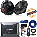 """Pioneer TS-W126M 1300 Watts 12"""" Single 4 Ohm Car Subwoofer Champion Series W/Class D Mono Amplifier with Wired Bass Boost Remote and 4 Gauge Amp Kit"""