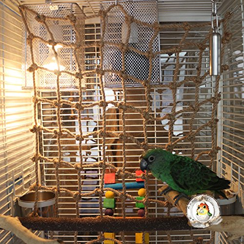 Evursua 20 x20 Parrot Bird Swing Thick Chew Rope Hammock Hanging Cage Toys Climbing Ladder for Macaw African Greys Cockatoo Budgies Parakeet Cockatiel
