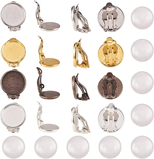 24 Pcs Clip On Earring Blank Base Fit 12mm Pads Glass Cabochons Setting DIY