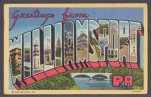 Greetings from WILLIAMSPORT PA large letter postcard 1940s Curt Teich 4B-H1009
