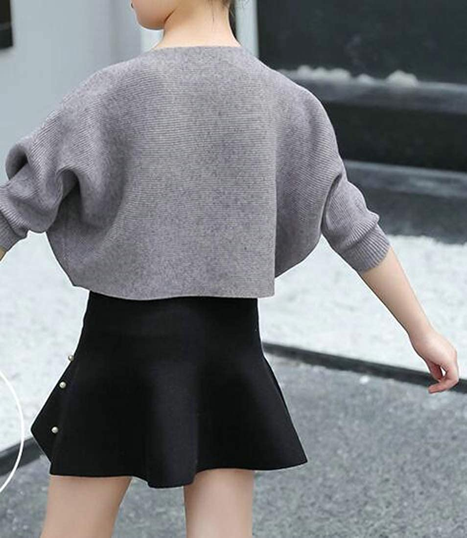 Hajotrawa Girls Batwing Sleeve Knit Loose Round-Neck Fashion Sweater