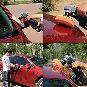 AMAZZANG-7PCS 3 inch Polishing Buffer Sponge Pad Set + Drill Adapter For Car Polisher UY