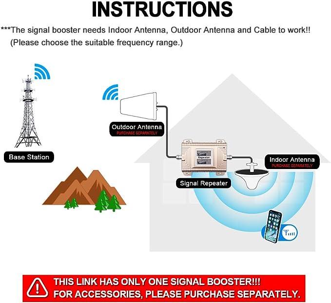 Goboost 2G 3G 4G repetidor de señal de teléfono celular de banda dual PCS 1900 MHz CDMA850 MHz Amplificador 65 dB de alta ganancia Booster Home Office ...