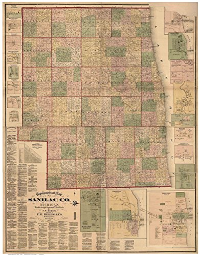 Sanilac County Michigan 1876 - Wall Map with Homeowner Names Farm Lines Genealogy - Old Map Reprint