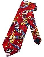 Steven Harris Mens Music Notes Clefs Staffs Necktie - Red - One Size Neck Tie