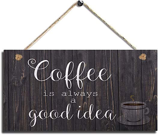 Amazon Com Wood Coffee Sign Coffee Kitchen Wall Hanging Sign Wall Art Everything Else