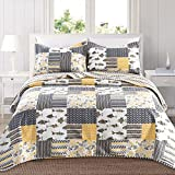 yellow quilt - Home Fashion Designs 3-Piece Reversible Quilt Set with Shams. All-Season Bedspread with Patchwork Pattern. Barbados Collection By Brand. (Full/Queen, Grey/Yellow)