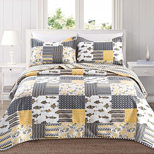 Cheap  Home Fashion Designs 3-Piece Reversible Quilt Set with Shams. All-Season Bedspread with..