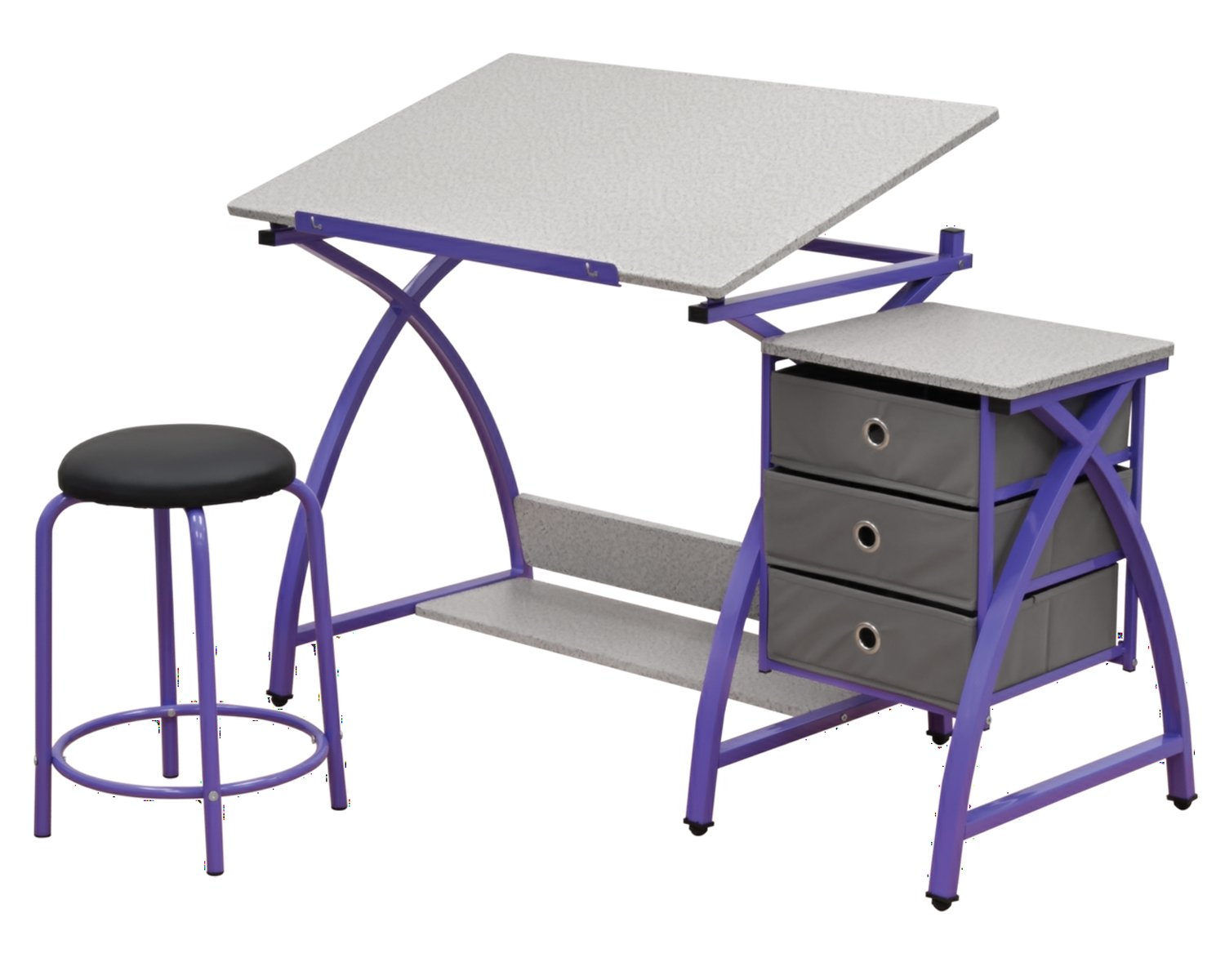 Offex Home Comet Center with Stool Purple/Spatter Gray by Offex (Image #1)