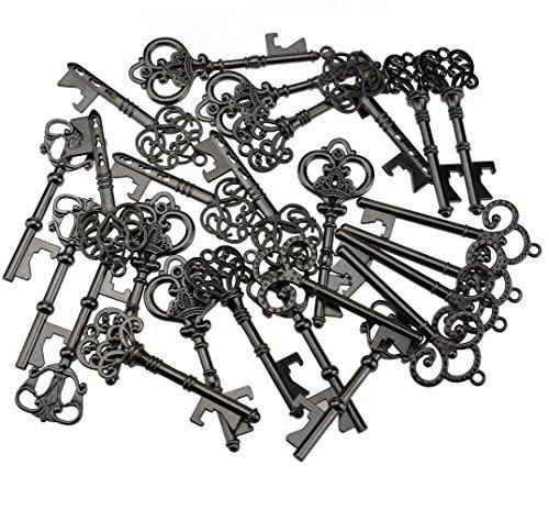 Key Bottle Openers - Assorted Vintage Skeleton Keys, Wedding Party Favors (Pack of 25, Black) by XONOR (Image #1)