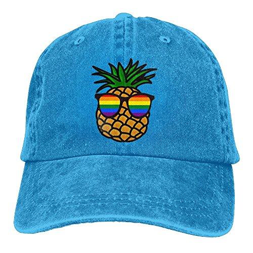 Men's Gay Pride Pineapple Vintage Cotton Baseball Cap Washed Denim - Watch Online Flamingos Pink