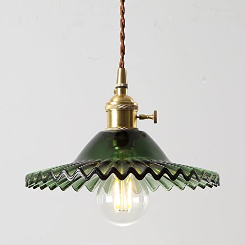IJ INJUICY Nordic Glass Brass Chandelier Retro Lotus Umbrella Pendant Hanging Light for Restaurant Porch Bedroom Home Entrance Clothing Tea Shop Dining Room Bar Kitchen Hall Balcony A