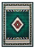 Cheap Kingdom South West Native American Area Rug Design D 143 Hunter Green (5 Feet X 7 Feet)