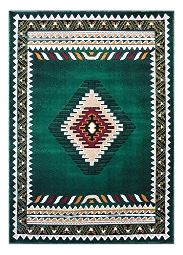 Kingdom South West Native American Area Rug Design D 143 Hunter Green (5 Feet X 7 Feet) ()