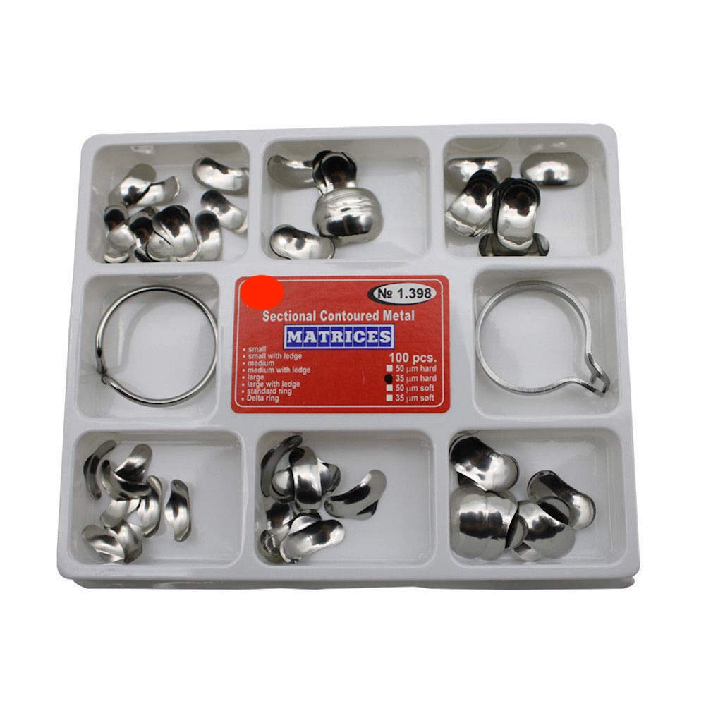 Luxoholic Dental Matrix Sectional Contoured Metal Matrices Kit 35 um Hard 100pc Set + Orthodontics Delta and Standard Rings