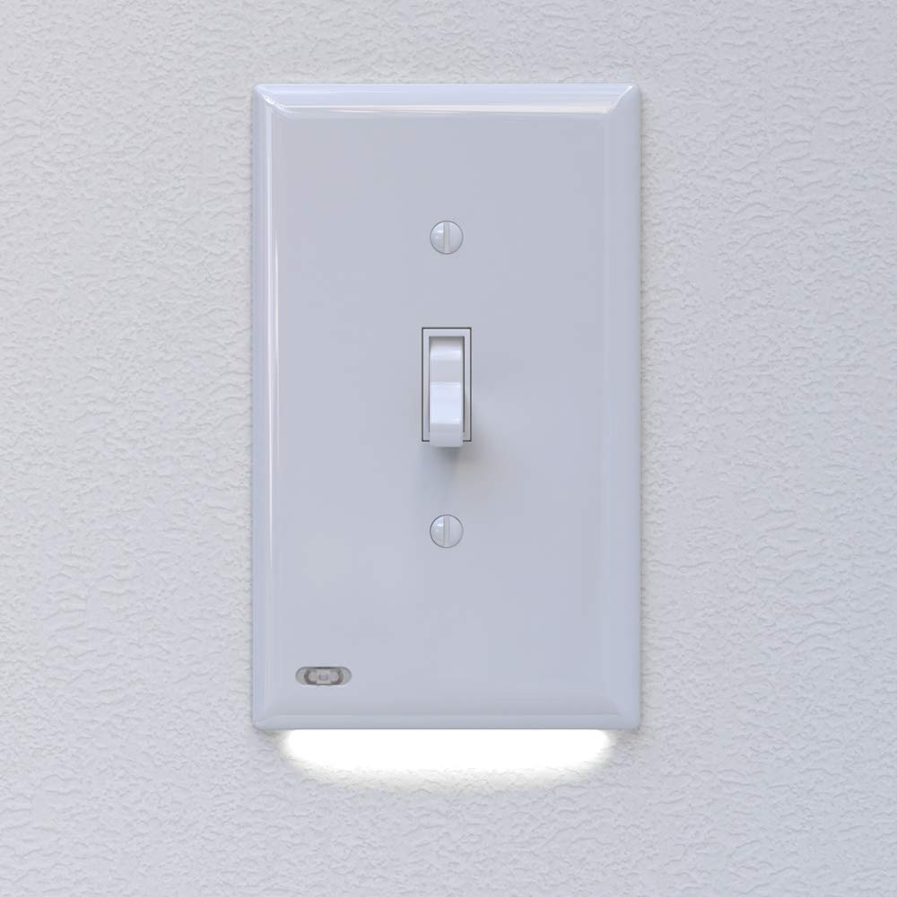 4 Pack SnapPower SwitchLight - Light Switch Cover Plate With Built-In LED Night Light - Add Ambience Lighting To Your Home In Seconds - (Toggle, White)
