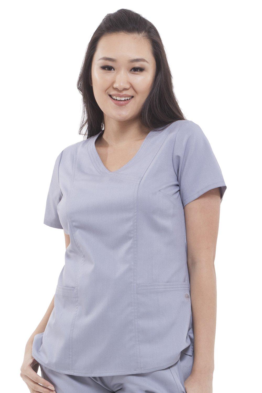 Purple Label Women's Jordan 2172 Mock Wrap Scrub Top by Healing Hands Scrubs- Grey- XS