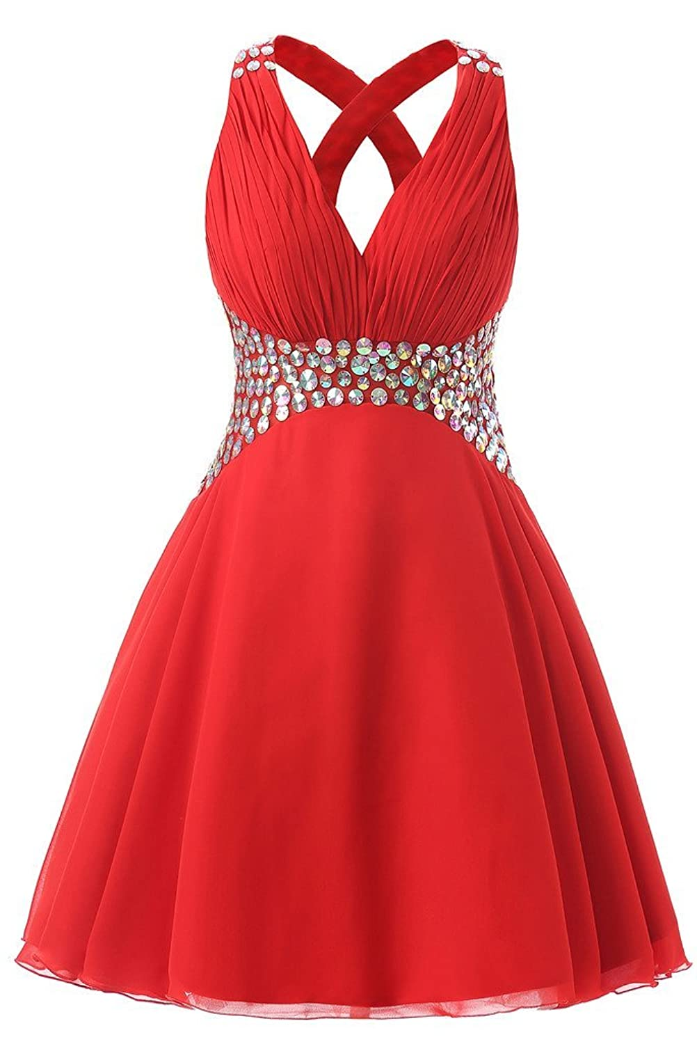 Drasawee Halter Rhinestones Homecoming Cocktail Ball Dress Short V-Neck Evening Prom Gowns