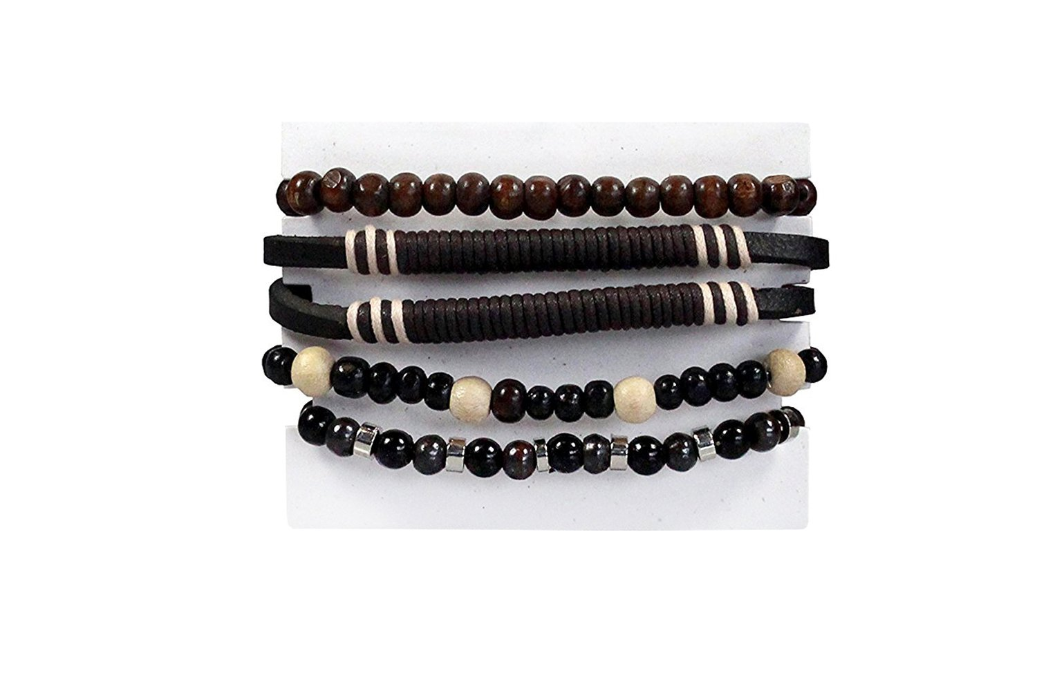 Mens Surfer Leather Bracelet Braided Boy Wristband Wrap Cord Bead Set In Handy Reusable GIiftbag CORDER LONDON LOOP5