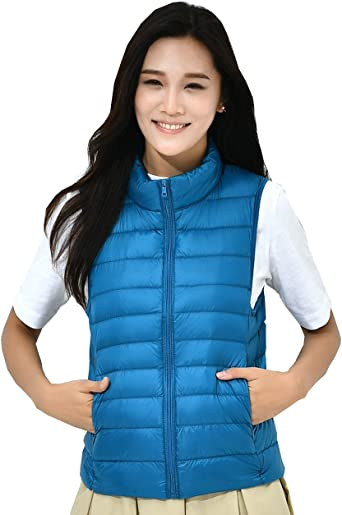 Climbing Fouriding Gilet Womens Stand Collar Duck Down Puffer Jacket Coat Vest Quilted Winter Packable Ultralight Vests Sleeveless Gilets for Women Ladies Girls for Travel Hiking Skiing