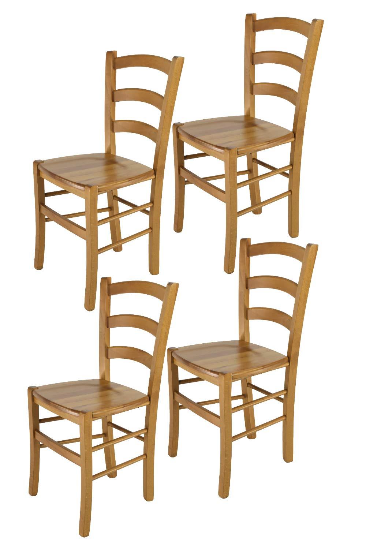 Set de 4 chaises Venice pour la Cuisine et la Salle /à Manger avec Structure en Bois Tommychairs Chaise du Design Couleur ch/êne et Assise en Bois